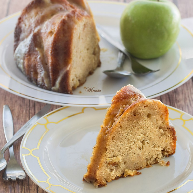Apple Halva Bundt Cake with Caramel Glaze