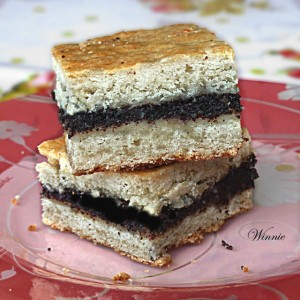Poppy Seed Squares WIth Chocolate Tips Recipe — Dishmaps