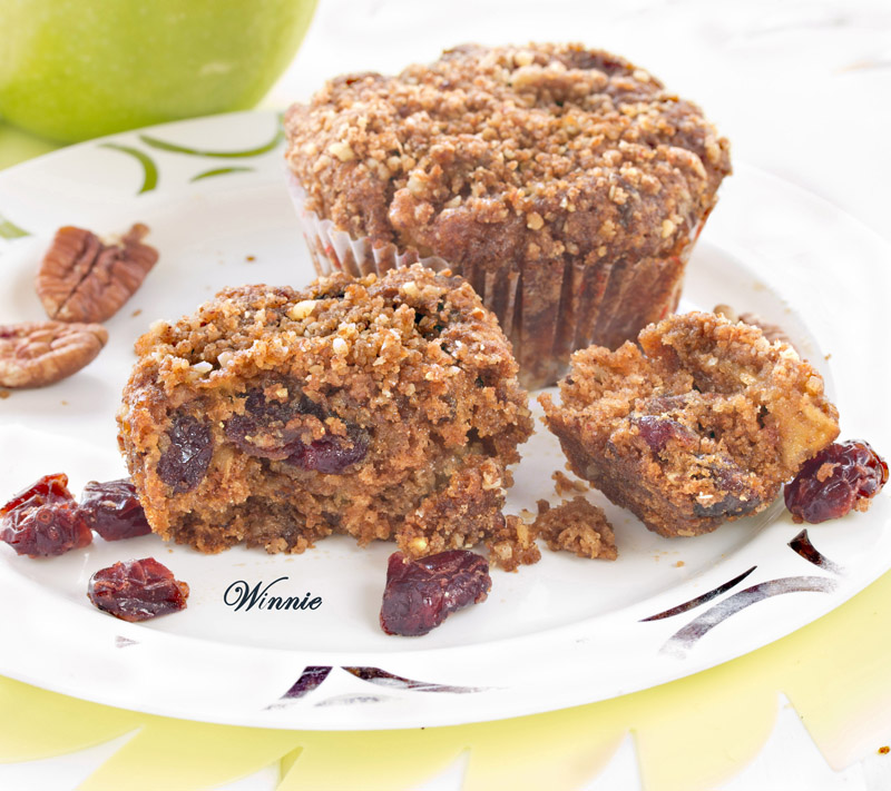 Apple Streusel Muffins with whole wheat, cranberry and pecan