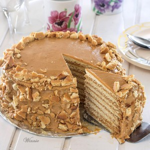 Honey Cake (Medovik Cake) with Dulce de Leche