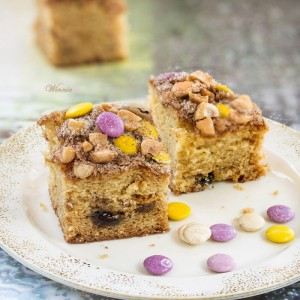 Cinnamon Coffee Cake with Nuts and M&M