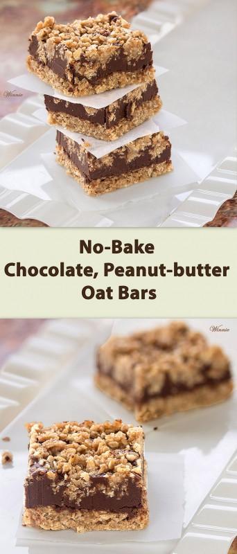 ... No-Bake Chocolate, Peanut-butter Oat Bars -משהו מתוק