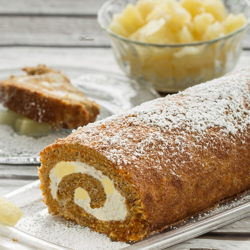 Carrot Cake Swiss-Roll with Pineapple Cream-Cheese
