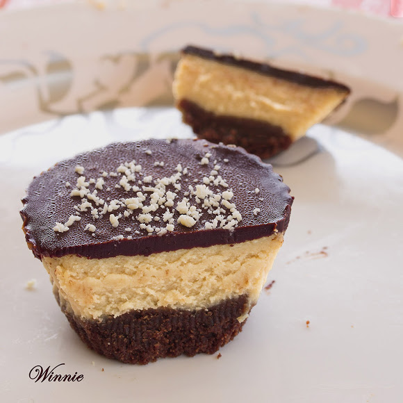 Peanut-Butter mini Cheesecakes, topped with Chocolate