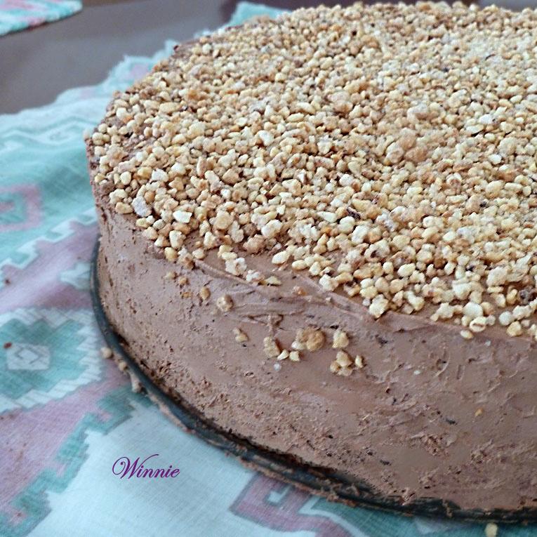 עוגת מוס שוקולד אפויה עם גנאש שוקולד-א