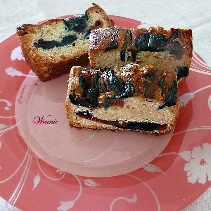 Coffee Cake with Blueberry and Cherry purees
