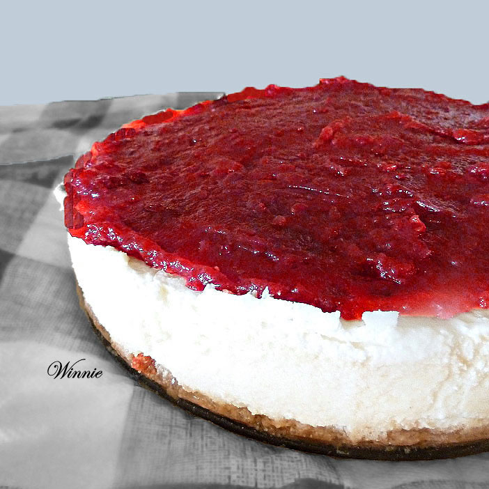 Creamy Baked CheesCake, topped with Cherry-spread