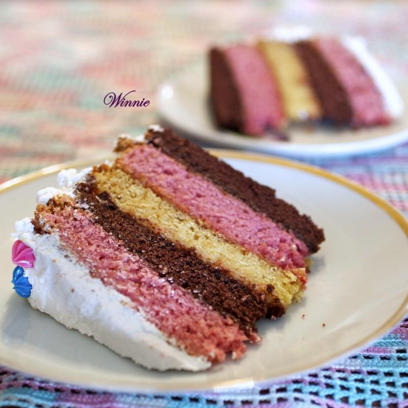 עוגת נאפוליטן- עוגה לבנה שוקולד ותות ב 5 שכבות-יז