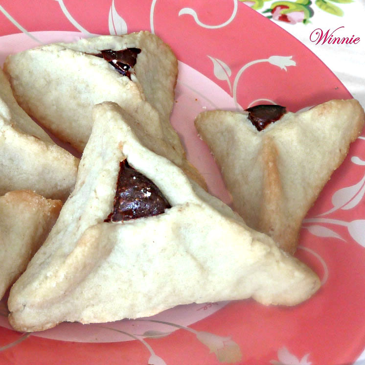 Hamantashen - unique shortbread cookies, filled with chocolate
