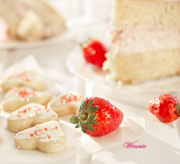 White Chocolate Mud Cake with layer of Strawberry Cheesecake