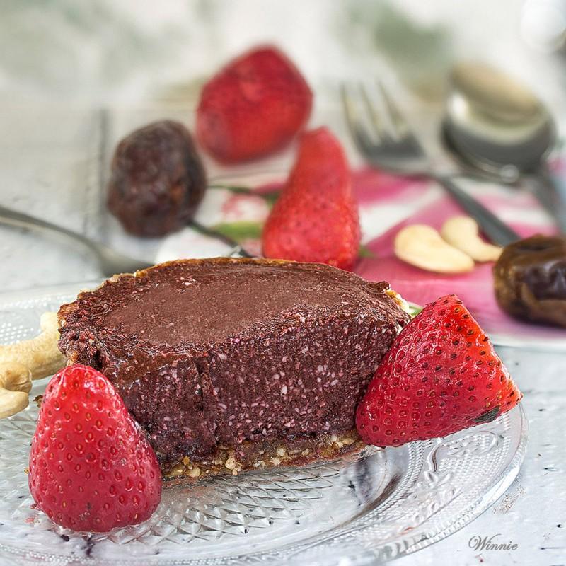 Frozen Strawberry Chocolate Tart - Gluten free