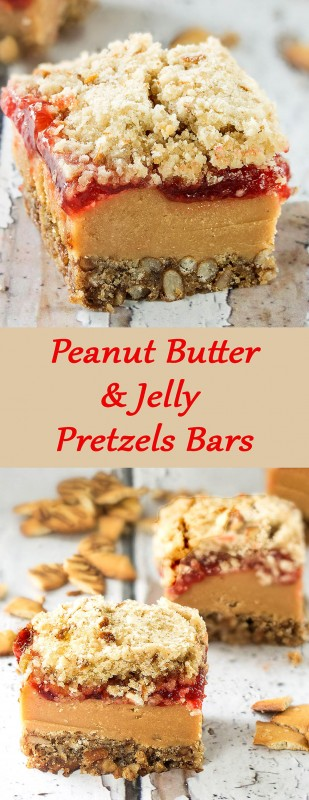 Peanut Butter & Jelly Pretzels Bars