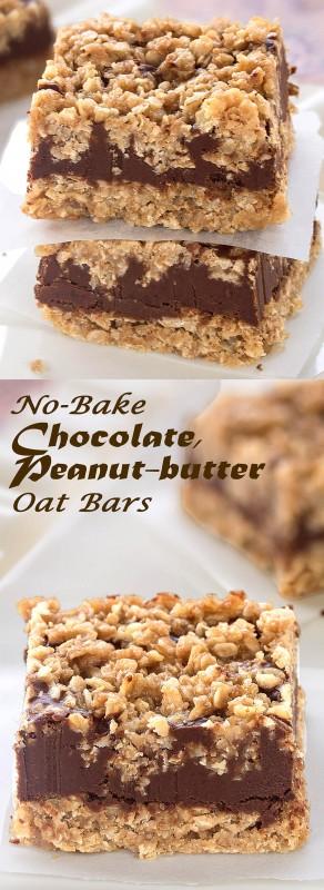 No-Bake Chocolate, Peanut-butter Oat Bars