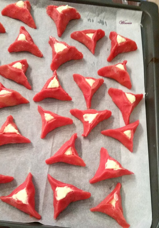 Strawberry Hamentashen filled with Ricotta