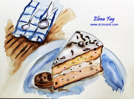 Oreo Chiffon Cake & Strawberry Ice-cream